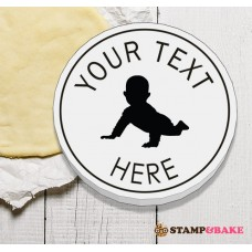 "Custom 2.4"" (60mm) Baby Crawl Round Cookie Stamp"