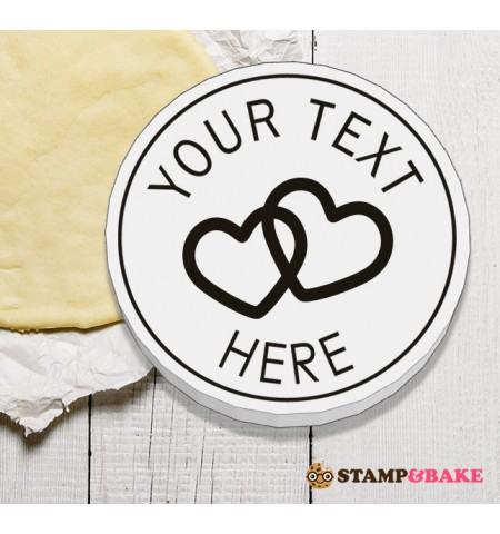 "Custom 2.4"" (60mm) Coupled Hearts Round Cookie Stamp"