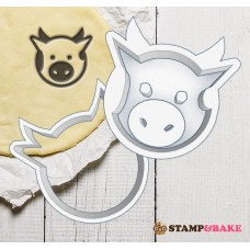 Custom Baby Cow Shaped Cookie Stamp & Cutter Set